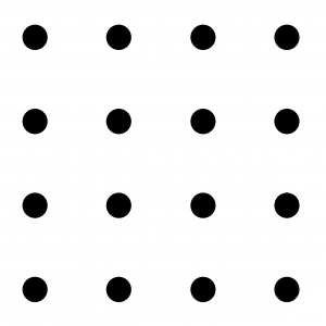 4 by 4 grid of dots