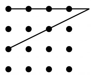 two lines indicated moving outside of the dots